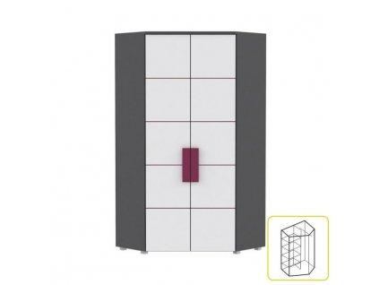 Skriňa rohová kombinovaná, sivá/biela/fialová, LOBETE 89 LBLS89