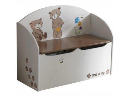 Krabica na hračky, čokoládová/biela, PUFF 234549