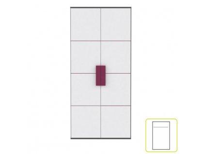 Skriňa vešiaková, sivá/biela/fialová, LOBETE S82