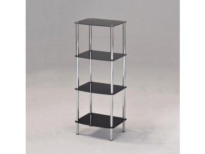 Regál, so štyrmi poličkami, chróm + čierne sklo, BORGIR