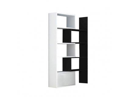 Regál, biela/čierna, 74x187,5, ASTA