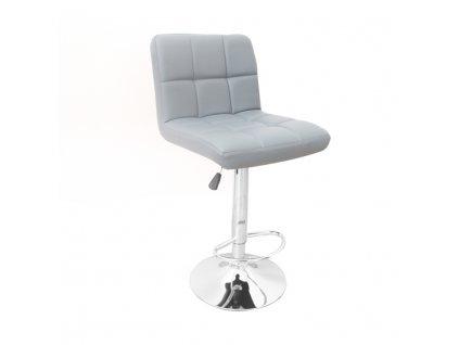 Barová stolička, ekokoža sivá/chróm, KANDY