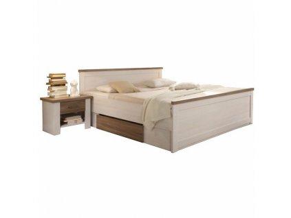 Posteľ + 2x nočný stolík, DTD fóliovaná, pínia biela/dub sonoma truflový, LUMERA