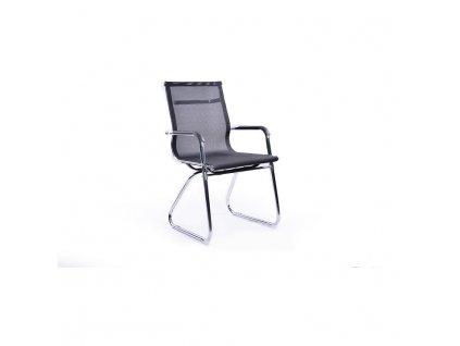 Moderná stolička, čierna sieťovina/chróm, SARIS