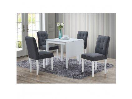 Jedálenský set s rozkladacím stolom, biela/sivá, BJORK 1+4
