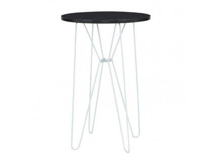 Príručný stolík, čierna/biele kovové nohy, RUBEN