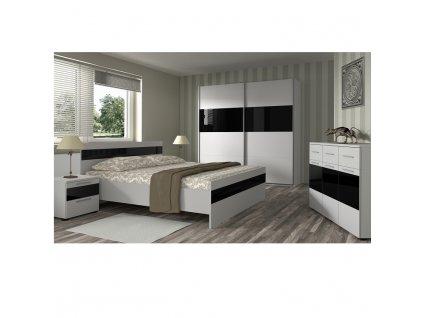 Posteľ, biela/čierny lesk, 16x200, DEVON NEW