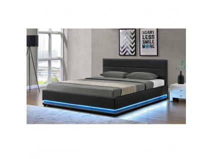 b6849c8fbebbf Manželská posteľ s LED osvetlením, čierna, 180x200, BIRGET