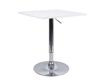 Barový stôl s nastaviteľnou výškou, biela, FLORIAN NEW