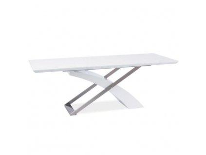 Jedálenský stôl, rozkladací, biela extra vysoký lesk/kov, KROS