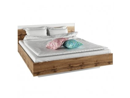 Manželská posteľ, 160x200, dub wotan/biela, GABRIELA