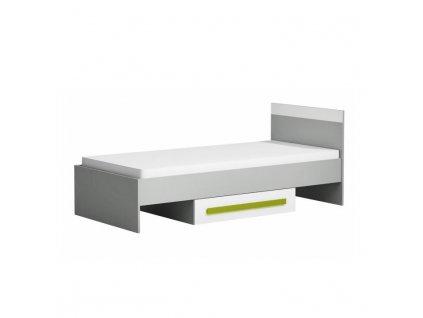 Posteľ s úložným priestorom, sivá/biela/zelená, PIERE P12