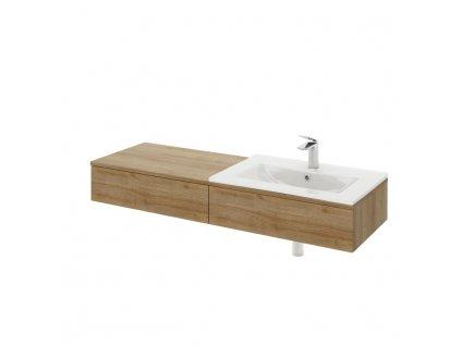 Umývadlová skrinka, pravá, dub riviera/biely lesk, KIARA