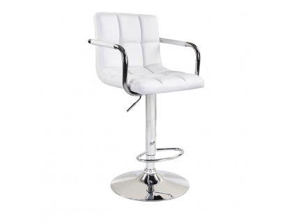 Barová stolička, biela ekokoža/chróm, LEORA
