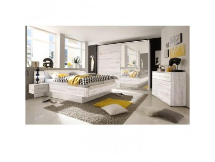 Spálňový komplet (skriňa+posteľ+2x nočný stolík), dub biely/biela, KENTUCKY