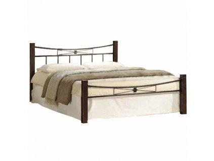 Manželská posteľ, drevo orech/čierny kov, 140x200, PAULA