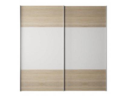 Skriňa s posúvacími dverami, dub sonoma/biela, GABRIELA