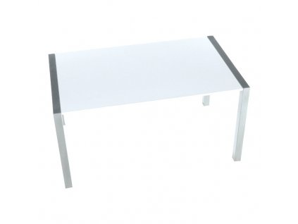 Jedálenský stôl, rozkladací, MDF/kov, biela extra vysoký lesk HG/strieborná, DARO