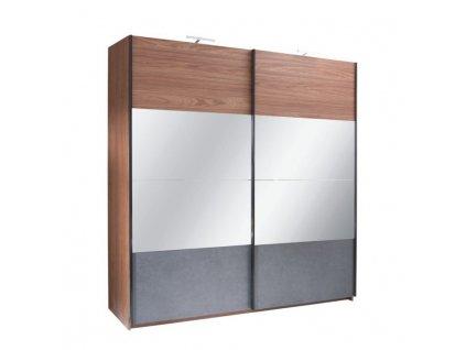 Skriňa s posúvacími dverami, orech/grafit, 200x219,  REKATO