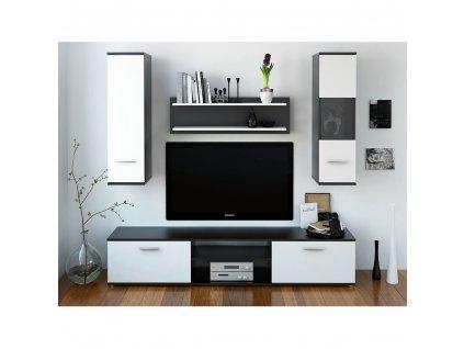 Obývacia stena, čierna/biela, WAW NEW