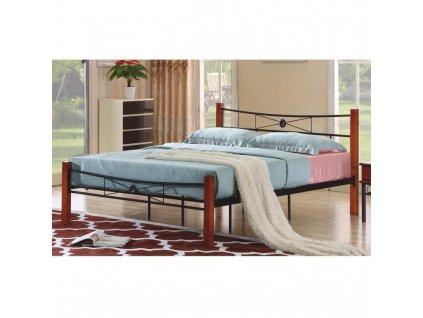 Kovová posteľ s roštom, čierny kov/čerešňa, 180x200, AMARILO