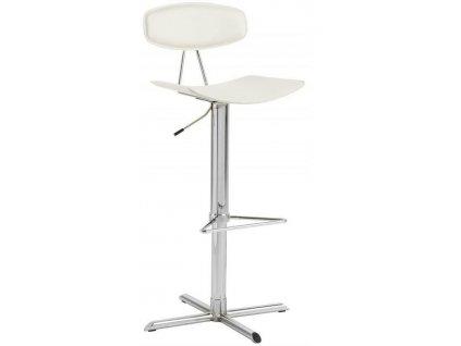 Barová stolička BLAISE - biela ekokoža