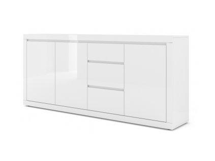 150843 moderna biela leskla komoda como bianco 4 biely lesk