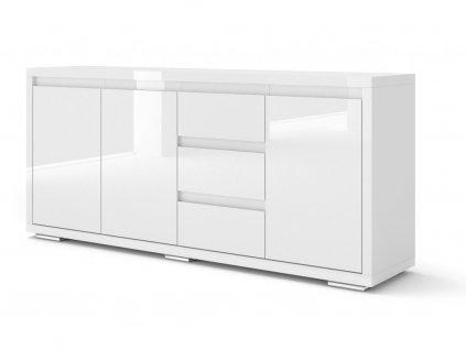 151035 moderna siroka biela leskla komoda nodric bianco 08 biely lesk