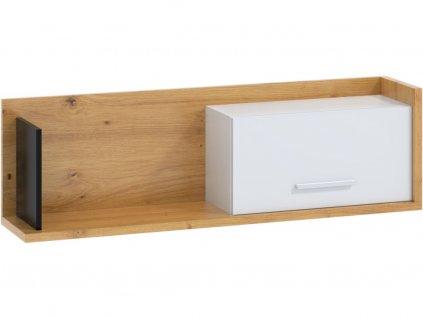 159486 polica so skrinkou box 11 dub artisan biela cierna