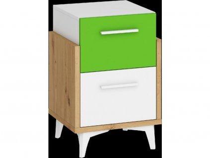 172707 2 hey nocny stolik 45 dub artisan biela zelena