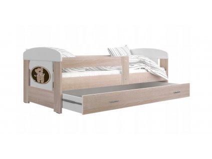 Detská posteľ FILIP, dub sonoma + matrac a rošt zadarmo