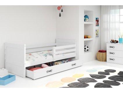 moderna detska jednolozkova postel s uloznym priestorom RICO BIELA BIELA