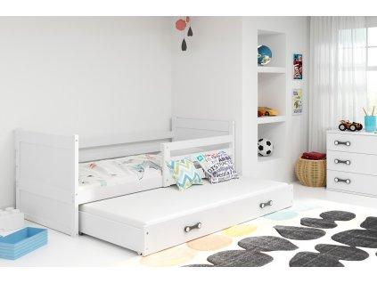 detska jednolozkova postel s pristelkou RICO 2 BIELA BIELA
