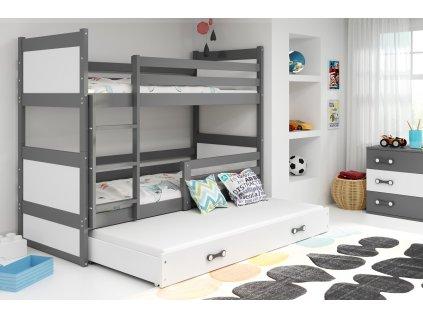 detska poschodova postel s pristelkou RICO SIVA BIELA