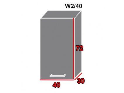 Vrchná kuchynská skrinka Quantum W2/40 (FAREBNÉ PREVEDENIE KORPUSU Lava, FARBA DVIEROK Beige mat)