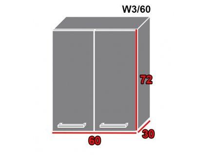 Vrchná kuchynská skrinka Gold Lux W3/60