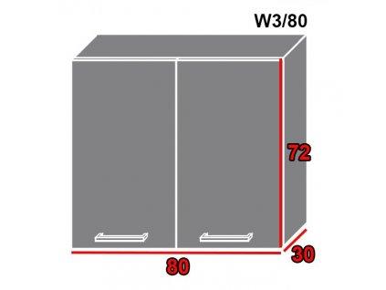 Vrchná kuchynská skrinka Gold Lux W3/80