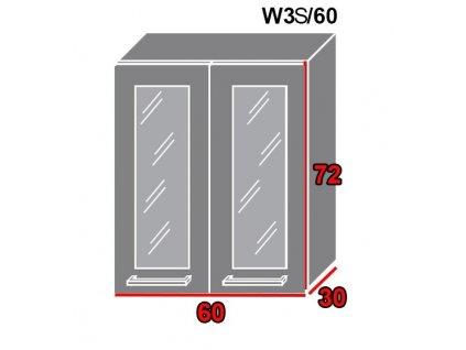 Vrchná kuchynská skrinka Gold Lux W3S/60