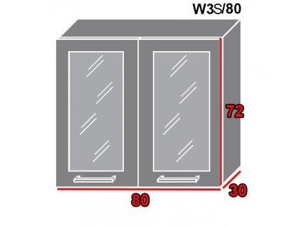 Vrchná kuchynská skrinka Gold Lux W3S/80