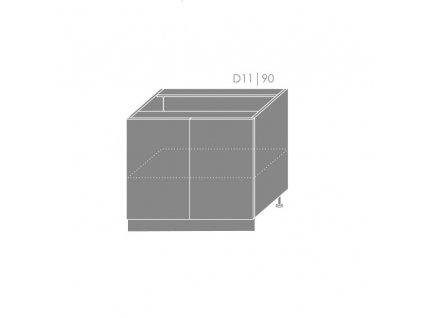 Spodná kuchynská skrinka Platinum D11/90 (FAREBNÉ PREVEDENIE KORPUSU Grey, FAREBNÉ PREVEDENIE DVIEROK PLATINUM Black)