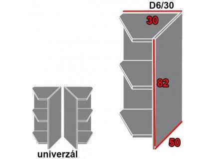 Spodná kuchynská skrinka rohová, policová Tivoli D6/30 (FAREBNÉ PREVEDENIE KORPUSU Lava)
