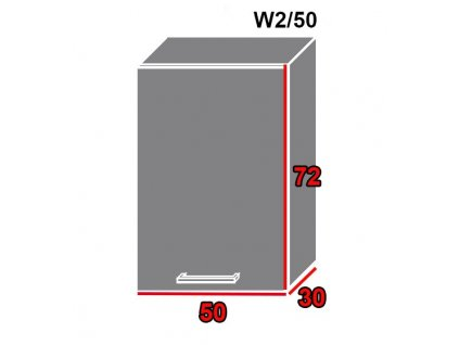 Vrchná kuchynská skrinka Tivoli W2/50 (FAREBNÉ PREVEDENIE KORPUSU Lava, FAREBNÉ PREVEDENIE DVIEROK ICA ICA 0186)