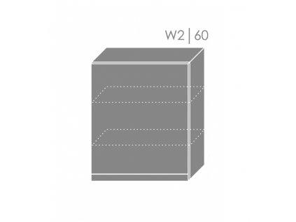 Vrchná kuchynská skrinka Tivoli W2/60 (FAREBNÉ PREVEDENIE KORPUSU Grey, FAREBNÉ PREVEDENIE DVIEROK ICA RAL 5012)