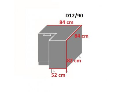 Dolna skrinka rohova D12 90 1