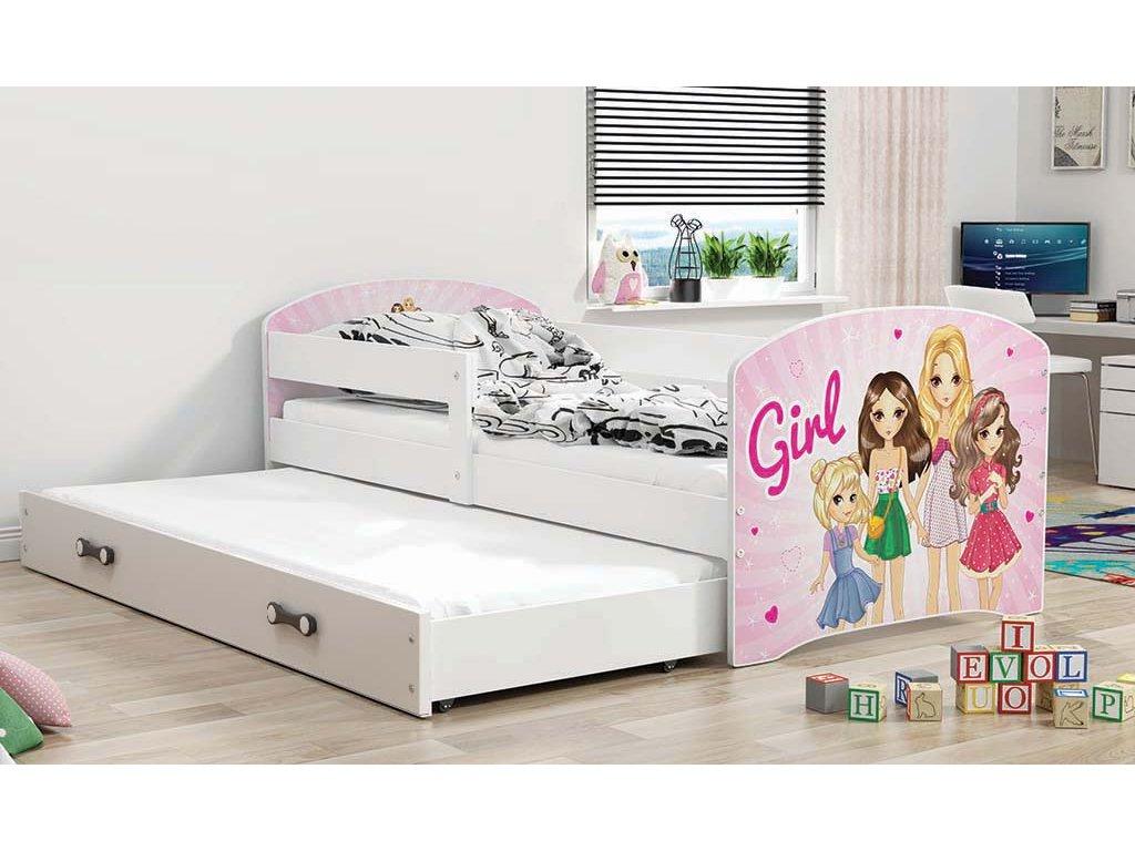 BMS group Detská posteľ Luki biela FARBA: Biela, OBRÁZOK: Girl, PREVEDENIE: posteľ s prístelkou