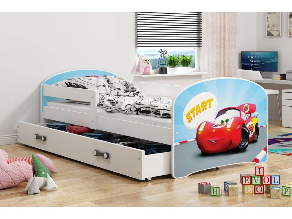 BMS group Detská posteľ Luki biela FARBA: Biela, OBRÁZOK: Auto, PREVEDENIE: posteľ s úložným priestorom