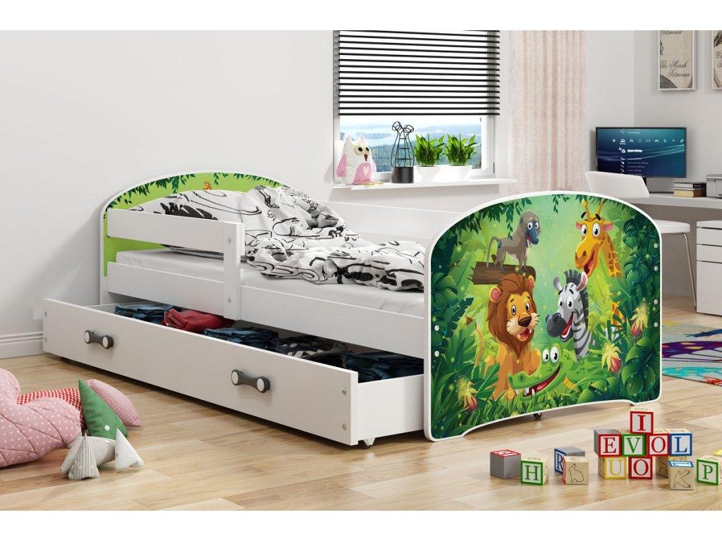 BMS group Detská posteľ Luki biela FARBA: Biela, OBRÁZOK: ZOO, PREVEDENIE: posteľ s úložným priestorom