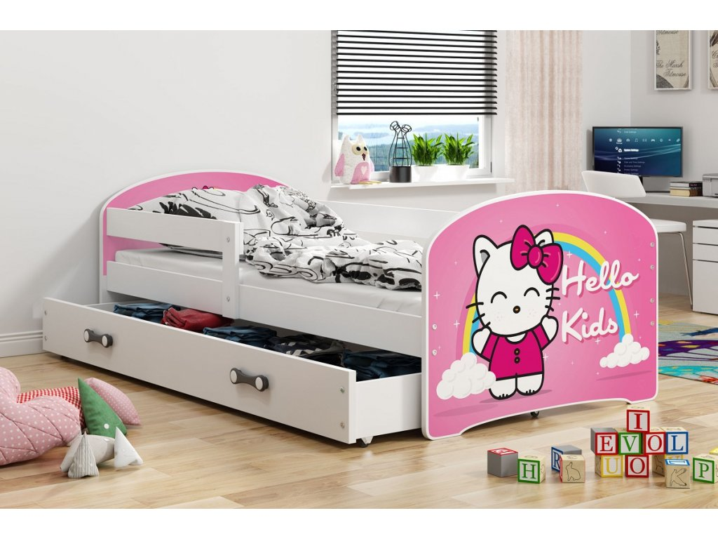 BMS group Detská posteľ Luki biela FARBA: Biela, OBRÁZOK: Hello Kids, PREVEDENIE: posteľ s úložným priestorom