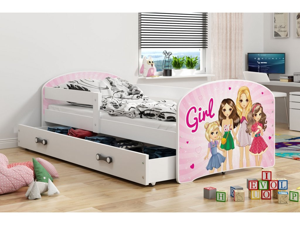 BMS group Detská posteľ Luki biela FARBA: Biela, OBRÁZOK: Girl, PREVEDENIE: posteľ s úložným priestorom
