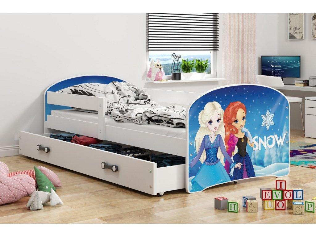 BMS group Detská posteľ Luki biela FARBA: Biela, OBRÁZOK: Snow, PREVEDENIE: posteľ s úložným priestorom